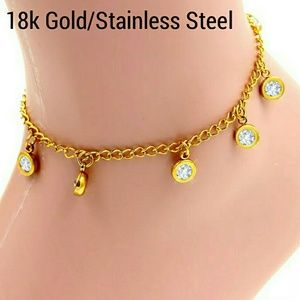 Jewelry - 18k Gold Stainless Steel CZ Anklet/Ankle Bracelet